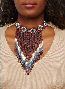 Beaded Aztec Pattern Fringe Choker - 1123018435155