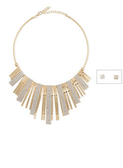 Collar Necklace with Crystal Accents and Stud Earring Set - 1123018435441