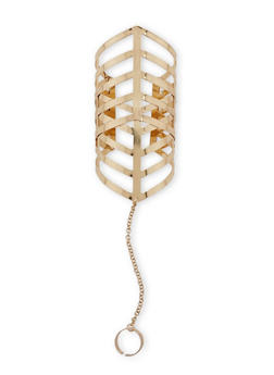 Geometric Cutout Cuff Bracelet with Attached Chain and Ring - 1123018435503