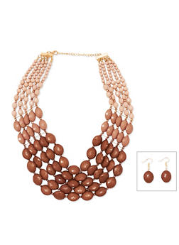 Multi Row Beaded Necklace and Earrings - 1123018436484