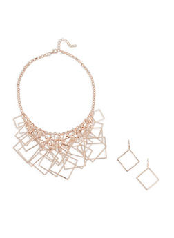 Metallic Geometric Fringe Necklace with Earrings - 1123018436641