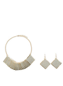 Statement Necklace with Glitter Square Pendants and Earrings Set - 1123018438833