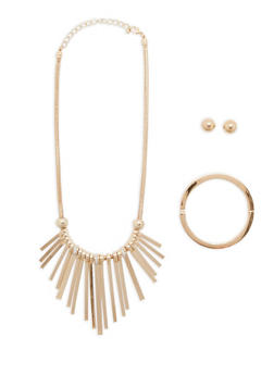 Glitter Stick Collar Necklace with Bracelet and Earrings Set - 1123035150178