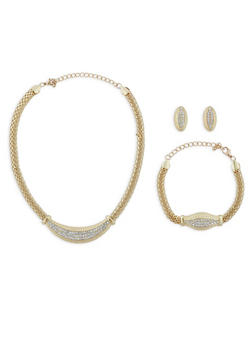 Metallic Mesh Collar Necklace with Bracelet and Earrings - 1123035150502