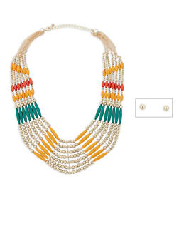 Layered Bead Collar Necklace with Stud Earrings Set - 1123035150560