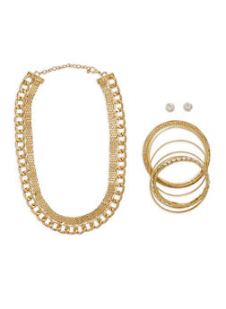 Metallic Chain Choker with Bangles  and Stud Earrings - 1123035150617