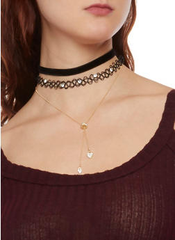 Set of 3 Choker Necklaces - 1123035153444