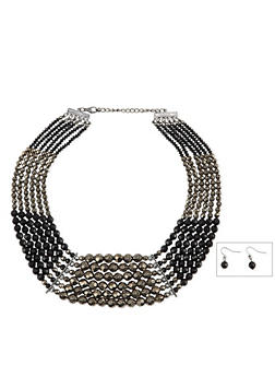 Layered Beaded Necklace with Matching Drop Earrings - 1123035153857