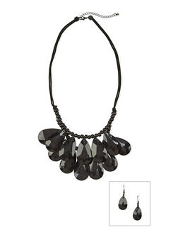 Tiered Beaded Necklace with Drop Earrings Set - 1123035153881