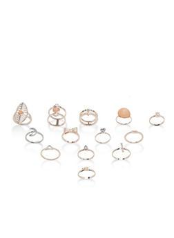 Multi Rhinestone Rings Set - 1123035154651