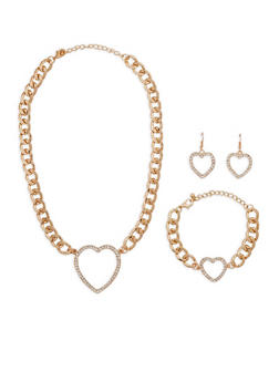 Curb Chain Rhinestone Pendant Necklace Bracelet and Drop Earrings Set - 1123035155060