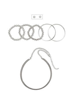 Glitter Choker Necklace with Bracelets and Stud Earrings - 1123035155117