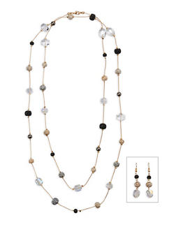 Long Beaded Necklace with Earrings - 1123035155702