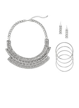 Jewelry Set with Earrings and Bangles with Bib Necklace - 1123035156480