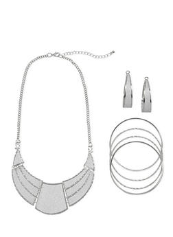 Glitter Crescent Necklace with Bracelets and Earrings - 1123035156695