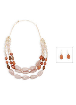 3 Tiered Glass Beaded Necklace and Earrings Set - 1123035156863