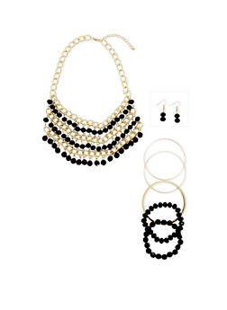 Chain and Beaded Bib Necklace Earring and Bracelet Set - 1123035157119
