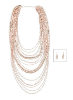 Layered Chain Necklace and Earrings Set - 1123035157148