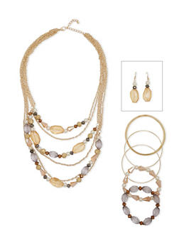 Layered Beaded Necklace with Bracelets and Drop Earrings - 1123035157216