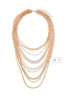 Multi Layer Chain and Rhinestone Necklace with Matching Earrings - 1123035157632