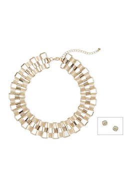 Stud Earrings and Chainlink Necklace Set - 1123035157648