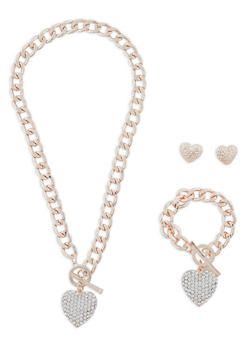 Heart Charm Necklace with Bracelet and Earrings - 1123035157964