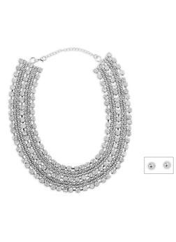 Rhinestone Metallic Collar Necklace with Earrings - 1123035158337