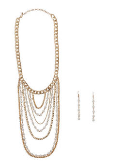 Curb Chain Faux Pearl Collar Necklace with Drop Earrings - 1123035158480