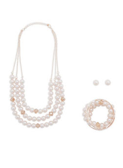 Faux Pearl Layered Necklace with Bracelets and Earrings - 1123035159662