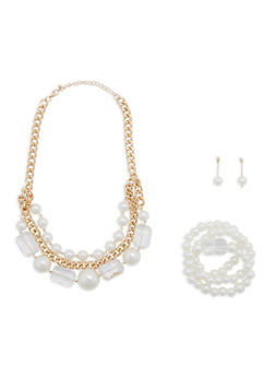 Faux Pearl Chain Necklace with Bracelets and Earrings - 1123035159779