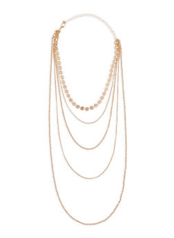 Multi Layer Metallic Necklace - 1123035159979