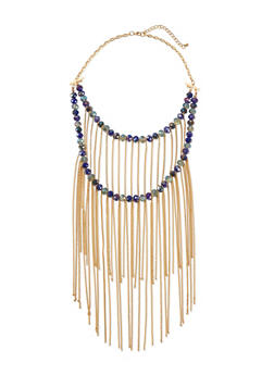 Tiered Crystal Necklace with Long Fringe - 1123044097381