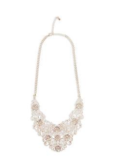 Rhinestone Metallic Cutout Collar Necklace - 1123048637450