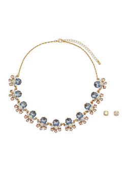 Jeweled Statement Necklace and Earrings - 1123048638541