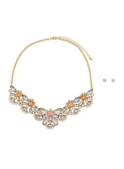 Jeweled Rhinestone Necklace and Earrings - 1123048639248