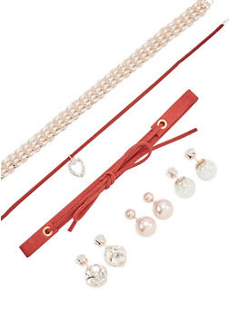 Set of 3 Choker Necklaces and 3 Reversible Stud Earrings - 1123057691639