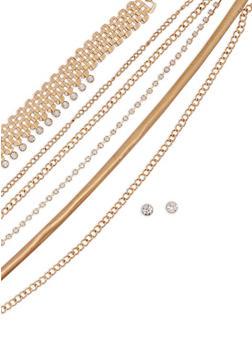 Wear 3 Ways Metallic Mesh Necklaces and Stud Earrings - 1123057692033