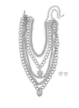Wear 3 Ways Heart Rhinestone Necklaces and Stud Earrings - 1123057692035