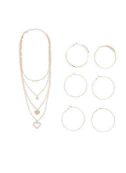 Multi Layer Heart Charm Necklace with Hoop Earrings - 1123057692107
