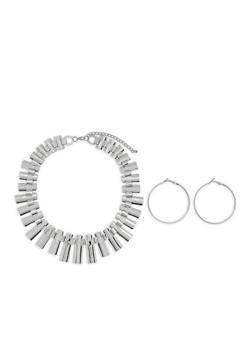 Flat Glitter Necklace with Hoop Earrings - 1123057692636