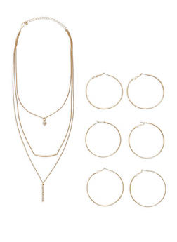 Metallic Hoop Trio with Layered Necklace - 1123057693378