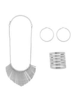 Textured Metallic Cuff Bracelet with Stick Necklace and Hoop Earrings - 1123057694840