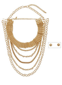 Choker and Layered Chain Necklaces Set - 1123057698082