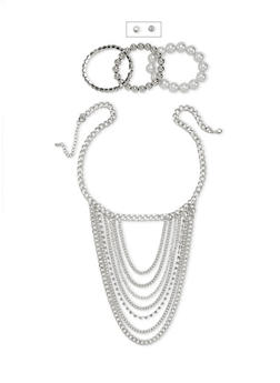 Stud Earrings and Bracelets with Layer Necklace Set - 1123057699197