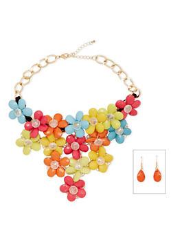 Beaded Drop Earrings and Flower Bib Necklace Set - 1123059634467