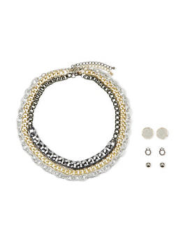 Set of 3 Chain Necklaces with 3 Pairs of Stud Earrings - 1123059635581
