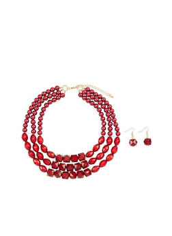 Triple Layer Beaded Necklace and Drop Earrings Set - 1123059636766