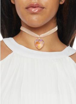 Ribbon Choker Necklace with Heart Pendant - BLUSH - 1123059638755