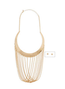 Metallic Fringe Collar Necklace with Earrings - 1123059638840