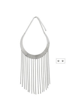 Metal Collar Necklace with Fringe Trim and Stud Earrings Set - 1123059639051
